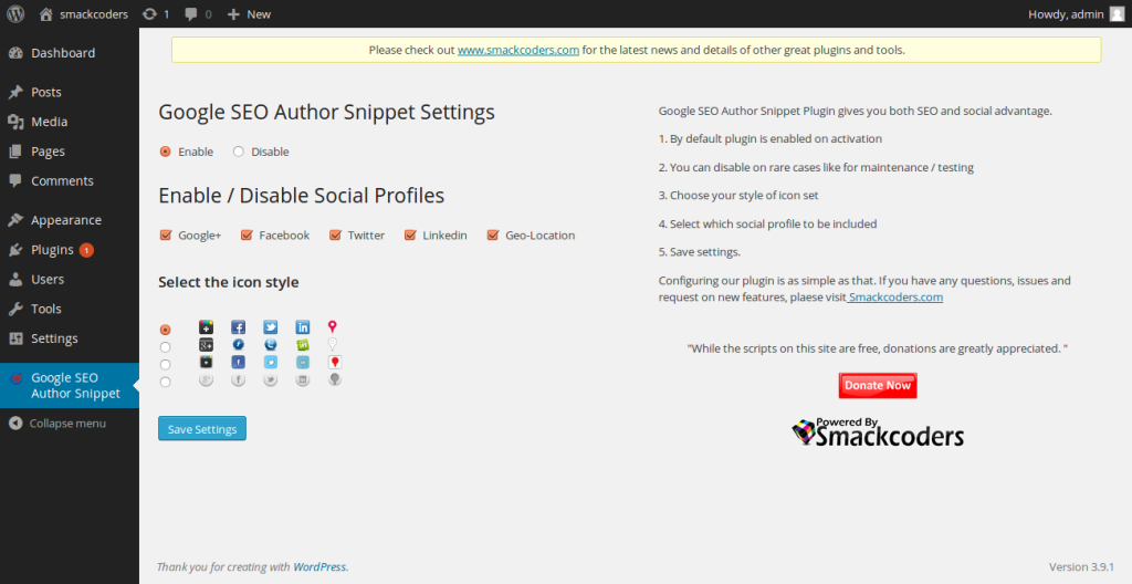 Googel Seo Author Snipet settings page screenshot