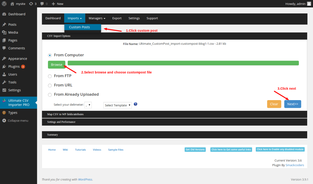 Custompost import page